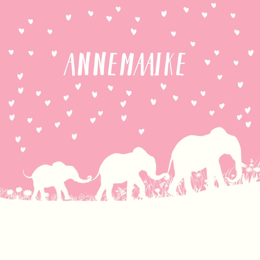 Geboortekaartjes - Lief geboortekaartje met silhouet van olifantjes en hartjes