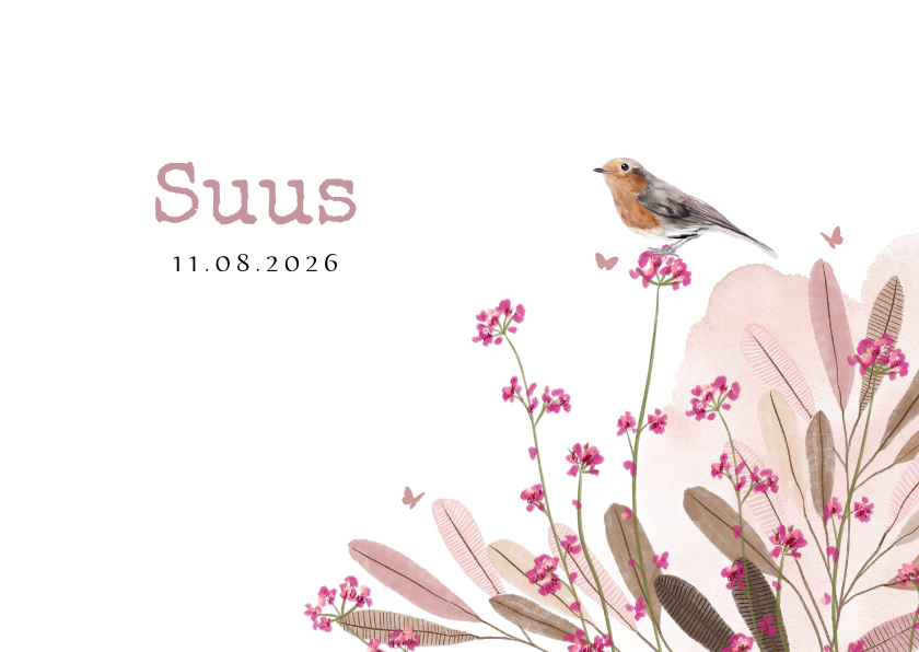 Geboortekaartjes - Lief geboortekaartje met velbloemen, watercolour en vogeltje