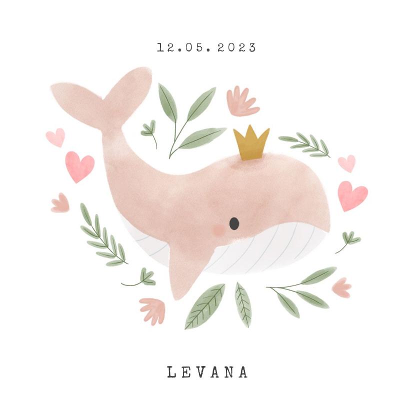 Geboortekaartjes - Lief geboortekaartje met walvisje, plantjes en hartjes