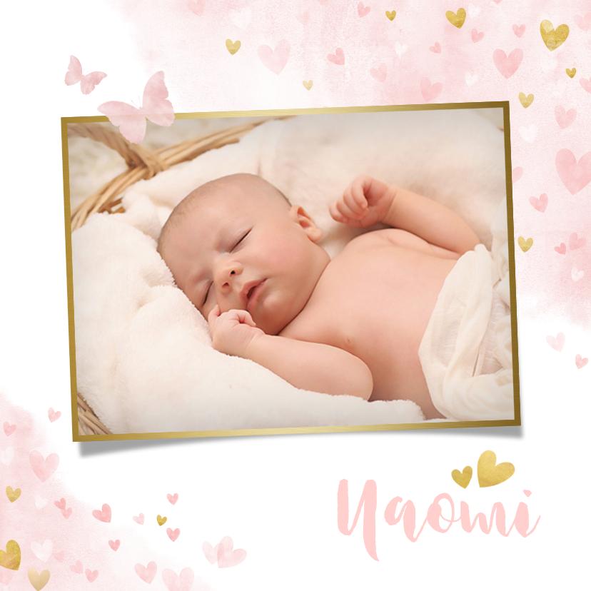 Geboortekaartjes - Lief geboortekaartje met waterverf hartjes, vlinders en foto