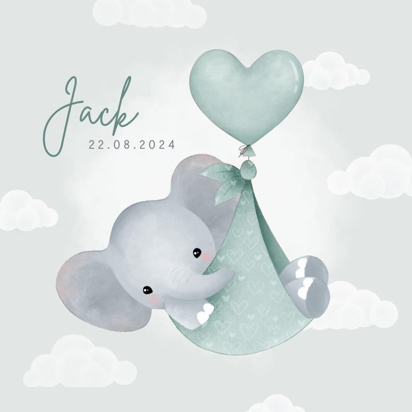 Geboortekaartjes - Lief geboortekaartje olifantje in draagzak, ballon & wolkjes