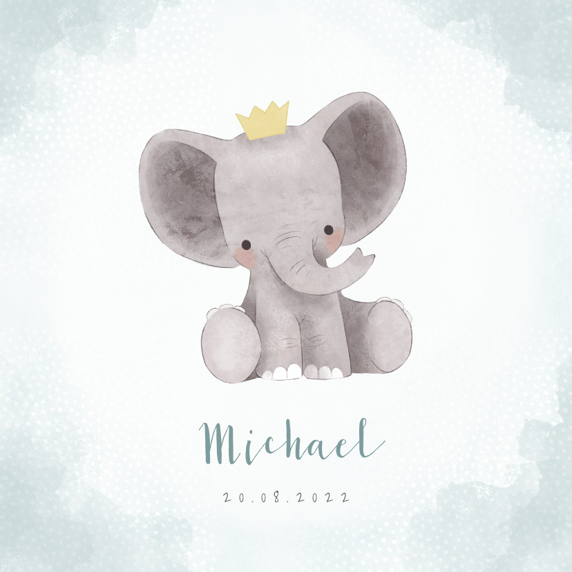 Geboortekaartjes - Lief geboortekaartje olifantje met kroontje en waterverf