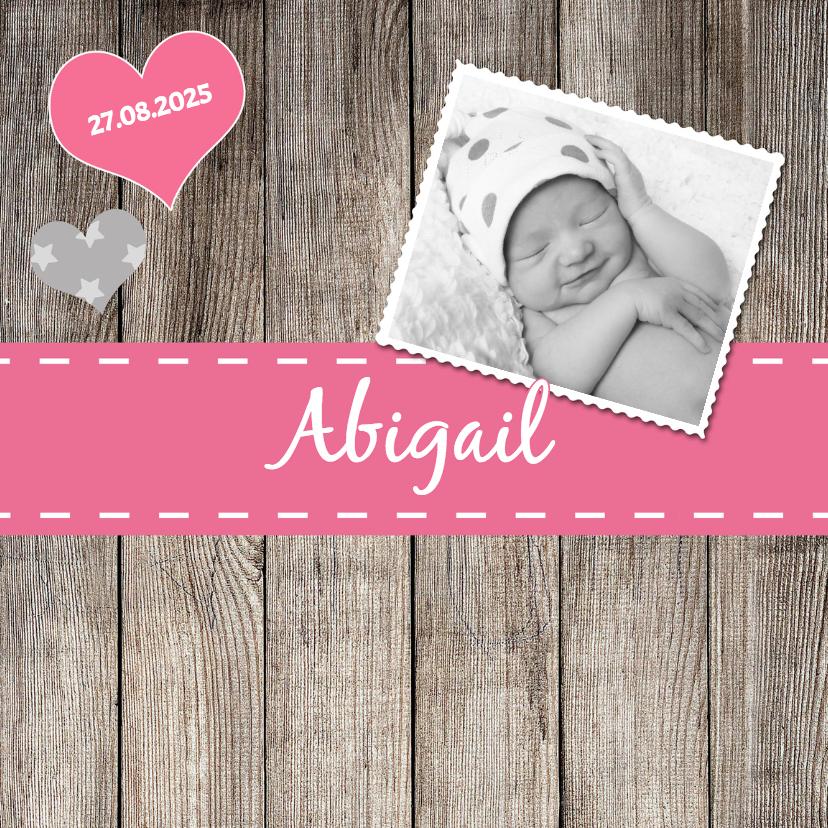 Geboortekaartjes - Lief geboortekaartje roze - DH
