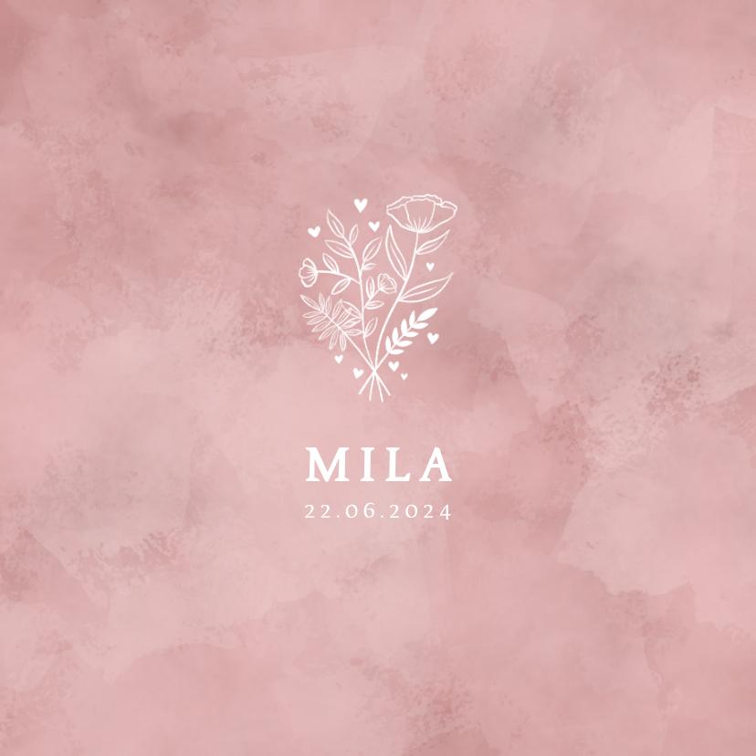 Geboortekaartjes - Lief geboortekaartje roze waterverf, bloemetjes en hartjes