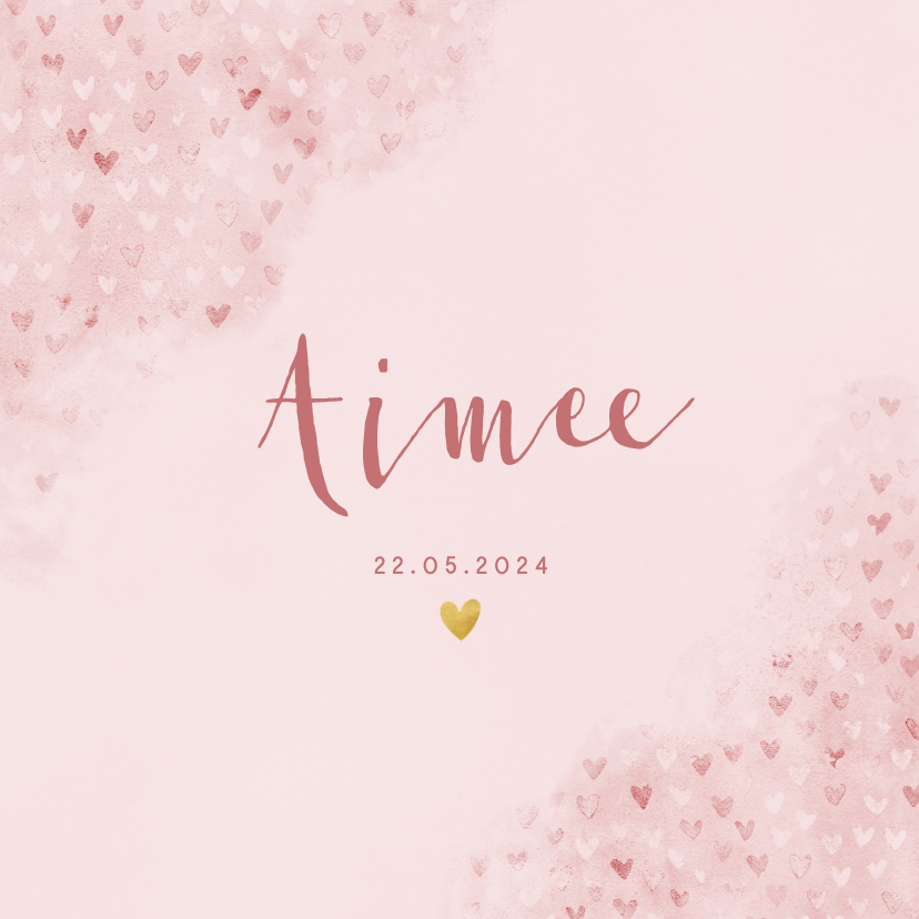 Geboortekaartjes - Lief geboortekaartje roze waterverf met hartjes