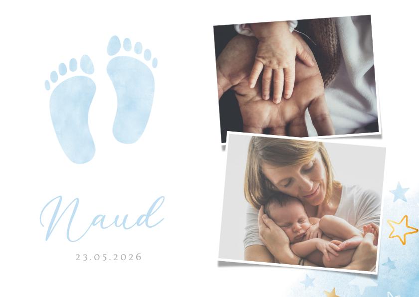 Geboortekaartjes - Lief geboortekaartje voor een jongen met blauwe voetjes