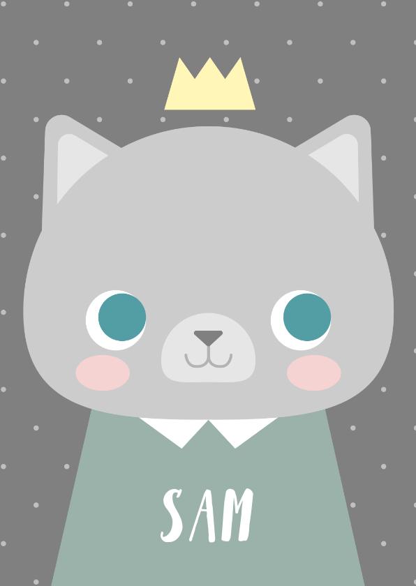 Geboortekaartjes - Lief geboortekaartje voor een jongen met een kat en kroontje