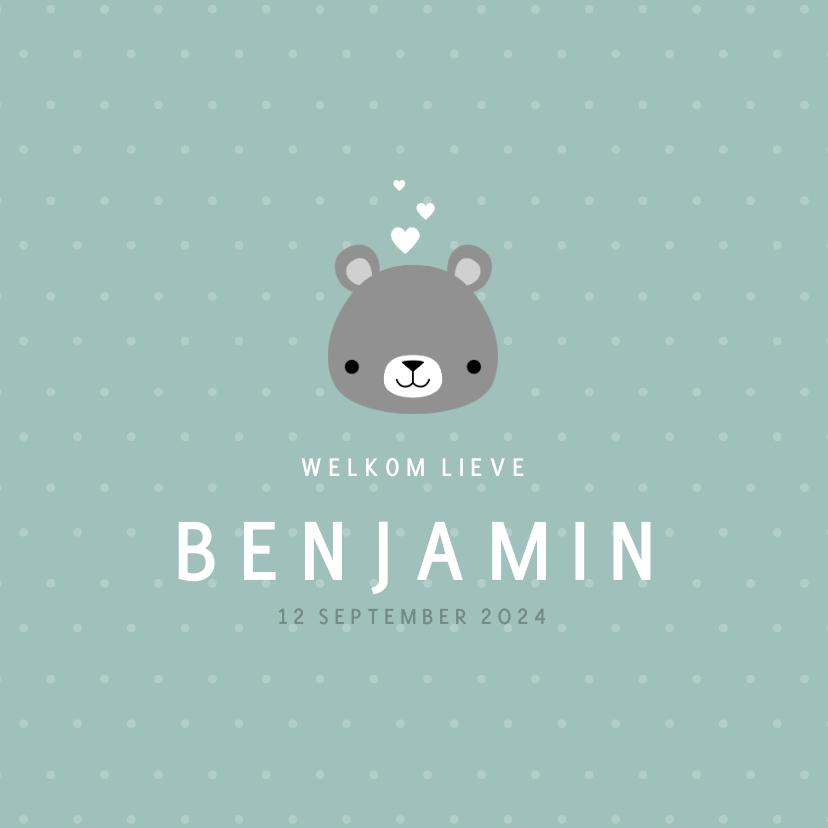 Geboortekaartjes - Lief geboortekaartje voor jongen met beertje en stipjes