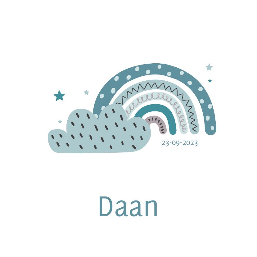 Geboortekaartjes - Lief geboortekaartje voor jongen met regenboog en wolk