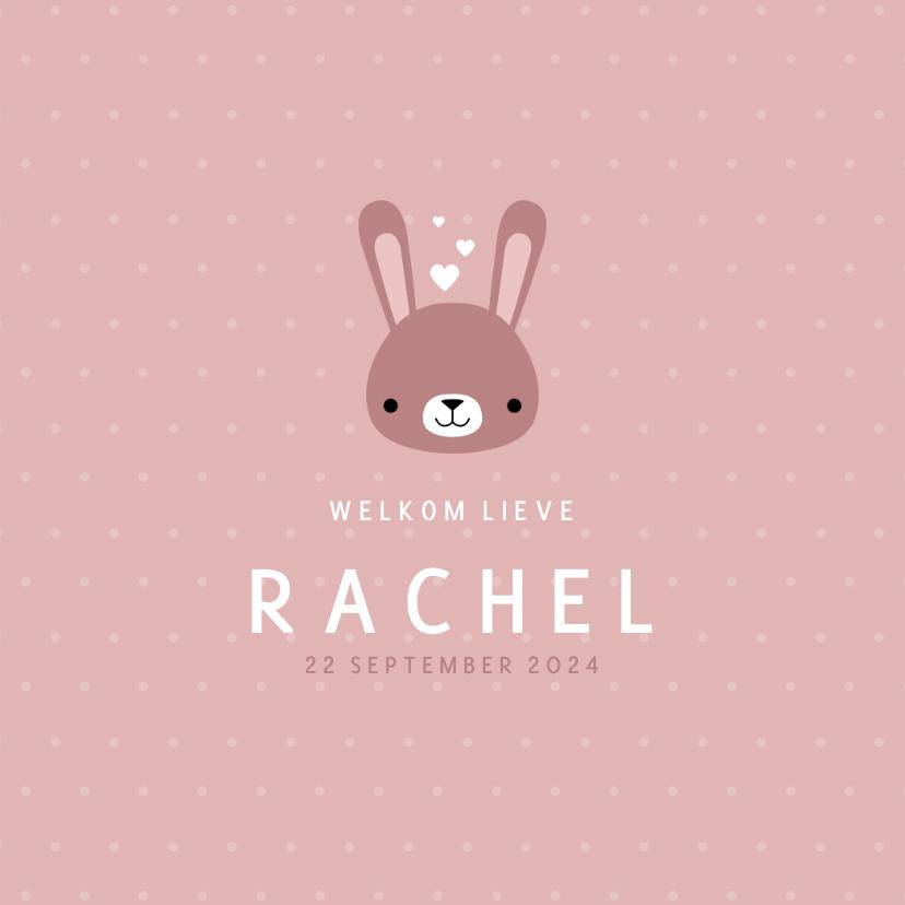 Geboortekaartjes - Lief geboortekaartje voor meisje met konijntje en stipjes