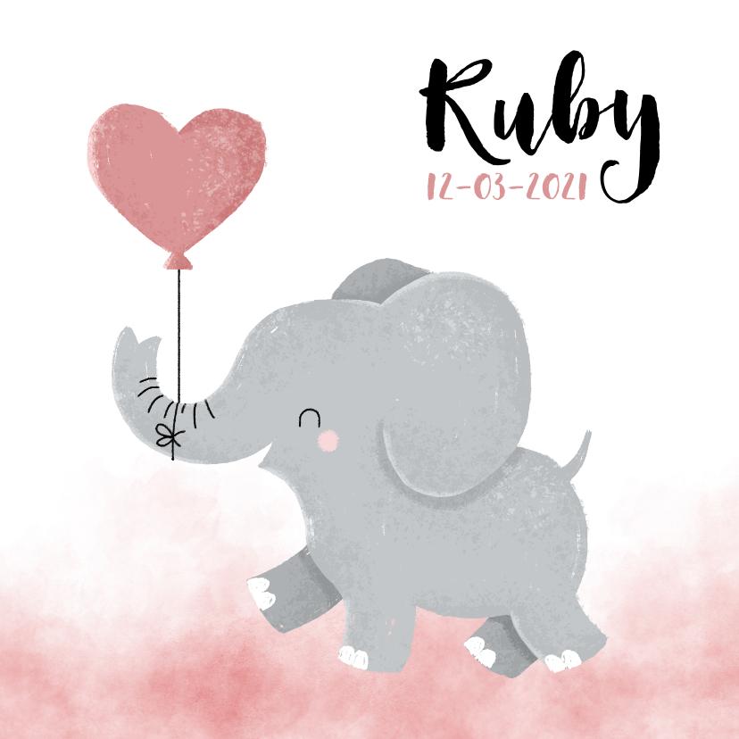 Geboortekaartjes - Lief geboortekaartje voor meisje met olifantje en waterverf