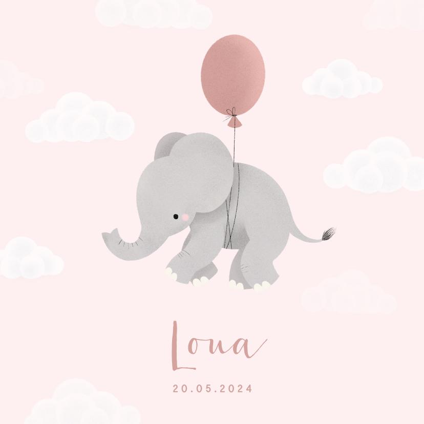 Geboortekaartjes - Lief geboortekaartje voor meisje olifantje aan ballon