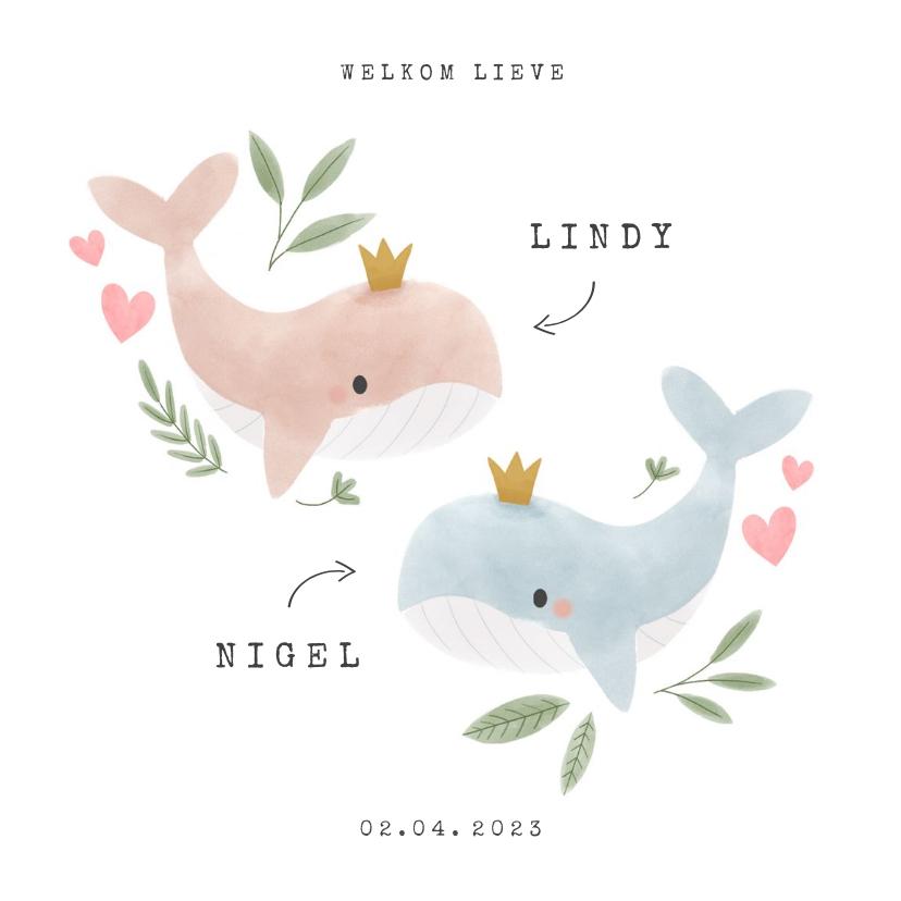Geboortekaartjes - Lief geboortekaartje voor tweeling met walvissen en hartjes
