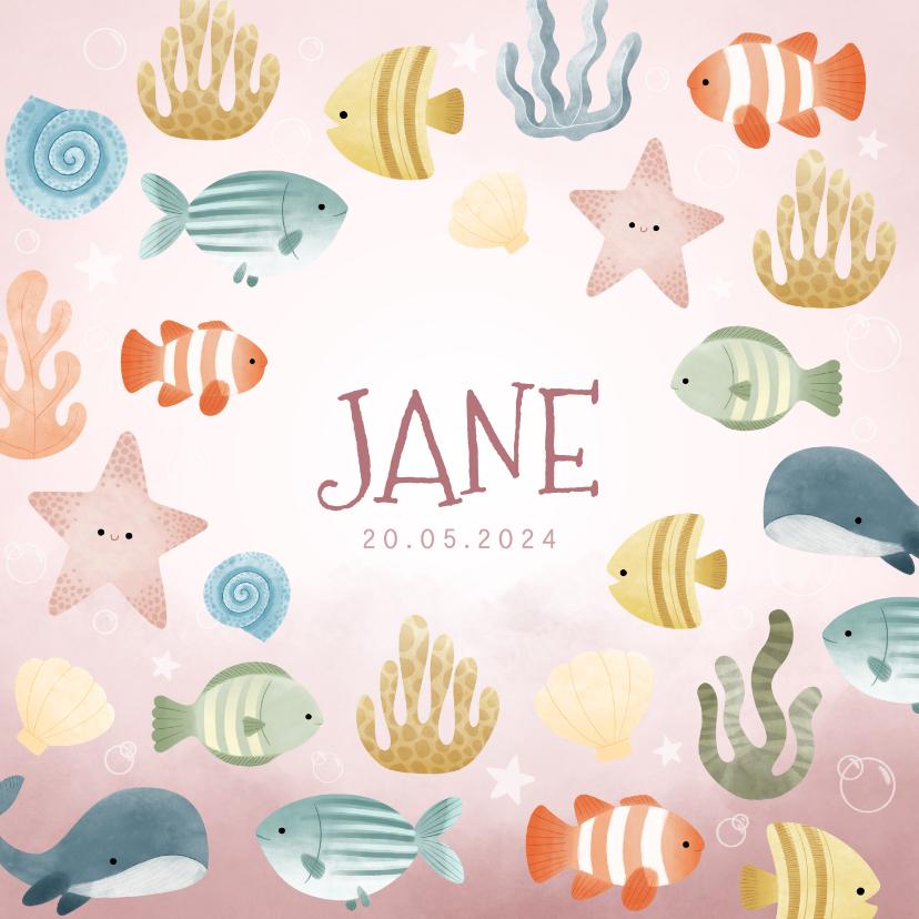Geboortekaartjes - Lief geboortekaartjes met visjes, plantjes, belletjes oceaan