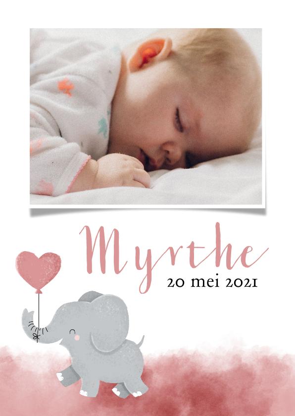 Geboortekaartjes - Lief geboortekeaartje met olifantje en roze waterverf