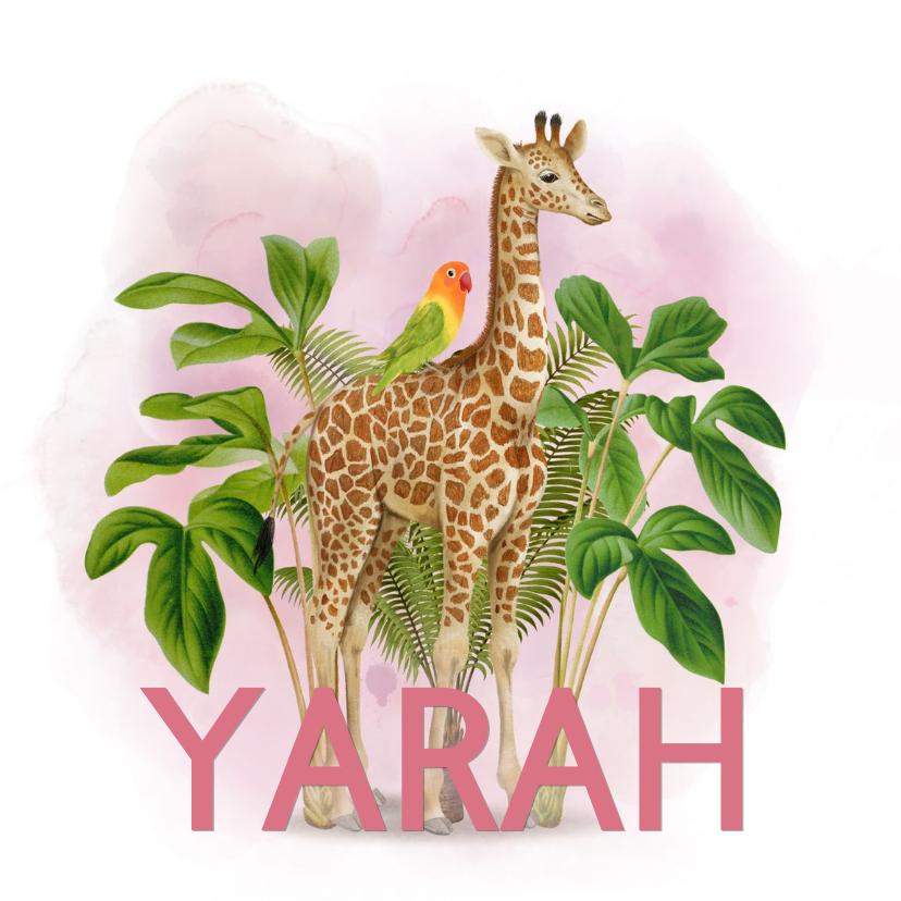 Geboortekaartjes - Lief jungle geboortekaartje giraffe met vogeltje