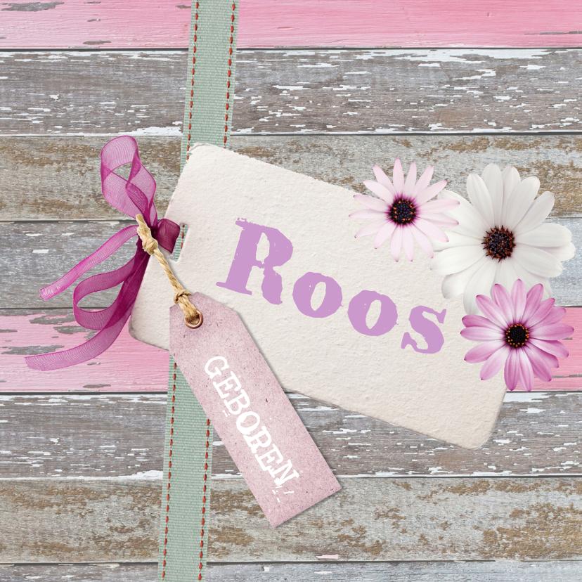 Geboortekaartjes - Lief kaartje meisje hout label bloem