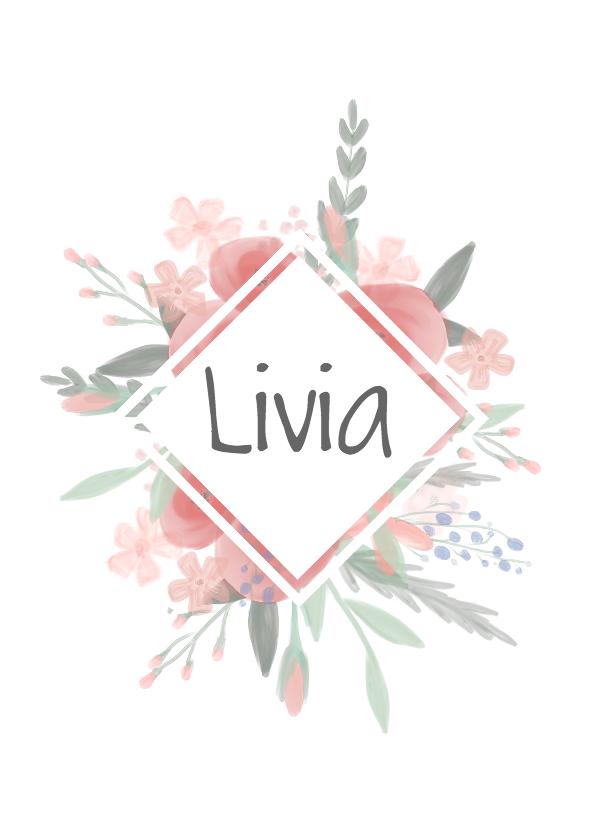 Geboortekaartjes - Lief meisjeskaartje met watercolor bloemen