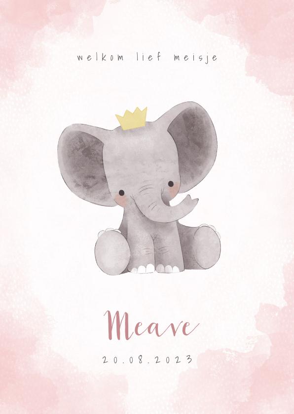 Geboortekaartjes - Lief olifantje in waterverf geboortekaartje meisje