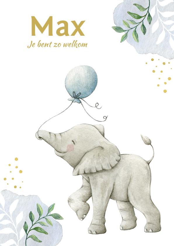 Geboortekaartjes - Lief olifantje op botanisch geboortekaartje jongen
