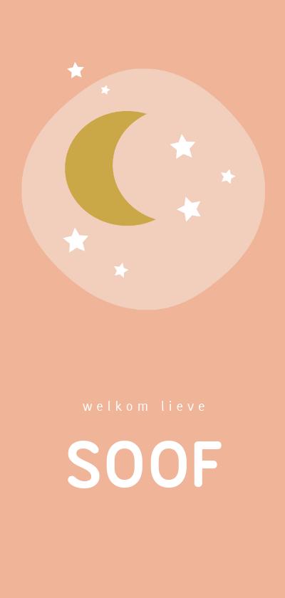Geboortekaartjes - Lief roze geboortekaartje met gele maan en witte sterren