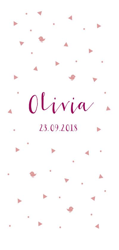 Geboortekaartjes - Lief roze geboortekaartje voor meisje met roze details.