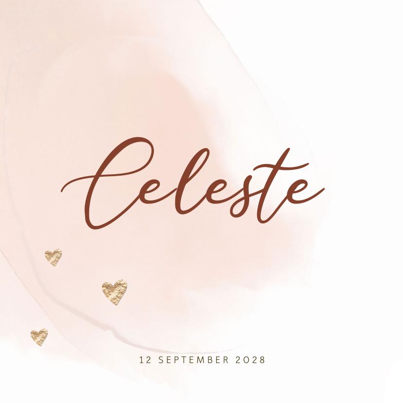 Geboortekaartjes - Lief roze watercolor brush geboortekaartje meisje hartjes