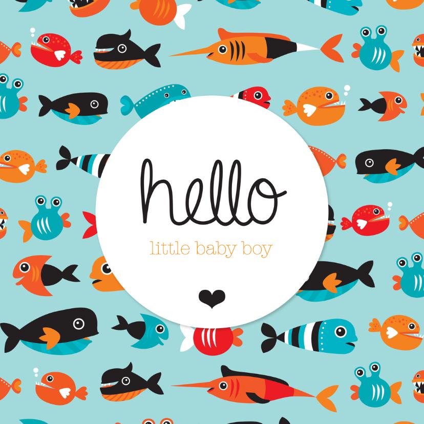 Geboortekaartjes - Lief visje baby boy geboorte