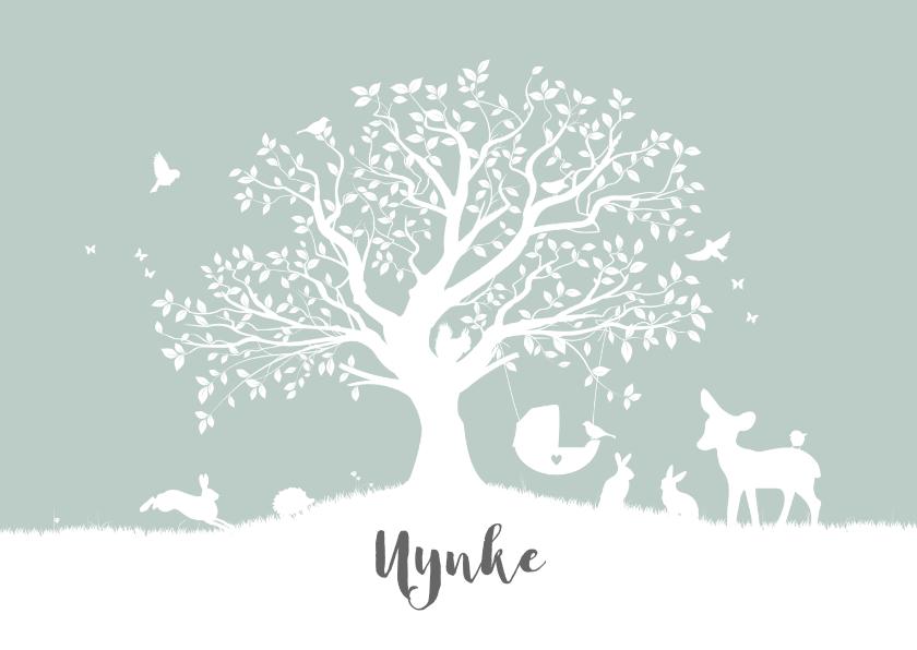 Geboortekaartjes - Liggend geboortekaartje met boom en dieren