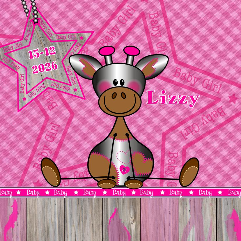 Geboortekaartjes - Meisje   Stoer lief girafje roze