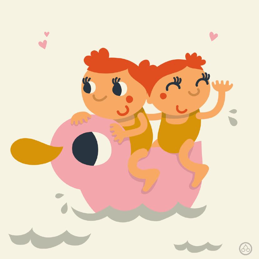 Geboortekaartjes - Meisjes tweeling , geboorte, NK