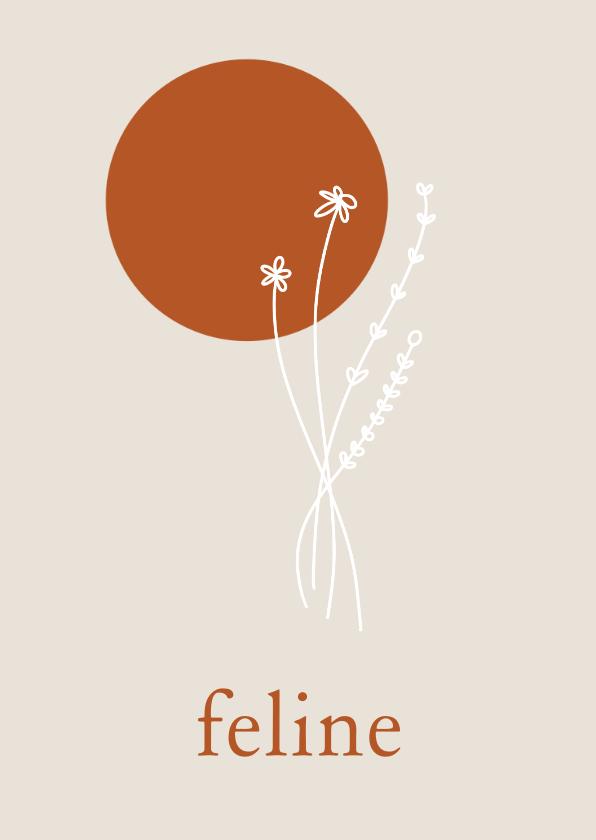 Geboortekaartjes - Minimalistisch geboortekaartje met lijntekening bloem