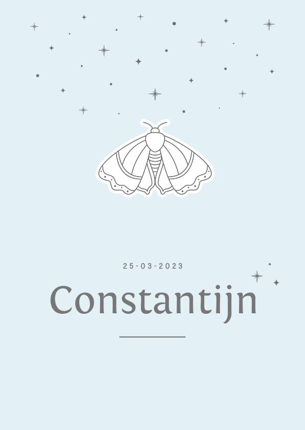 Geboortekaartjes - Minimalistisch geboortekaartje met nachtvlinder