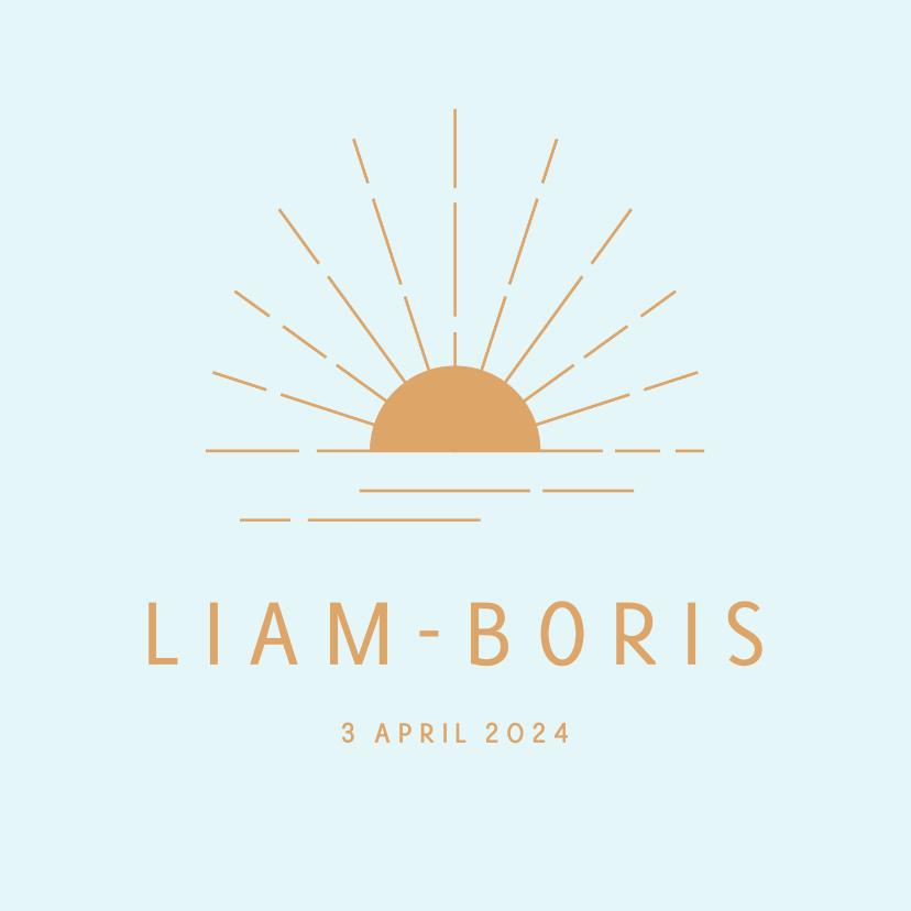 Geboortekaartjes - Minimalistisch geboortekaartje met zon