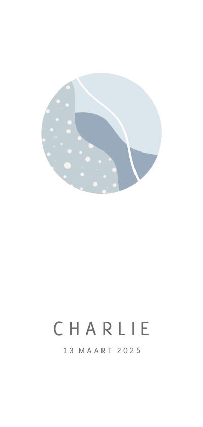 Geboortekaartjes - Minimalistisch wit geboortekaartje met blauwe cirkel