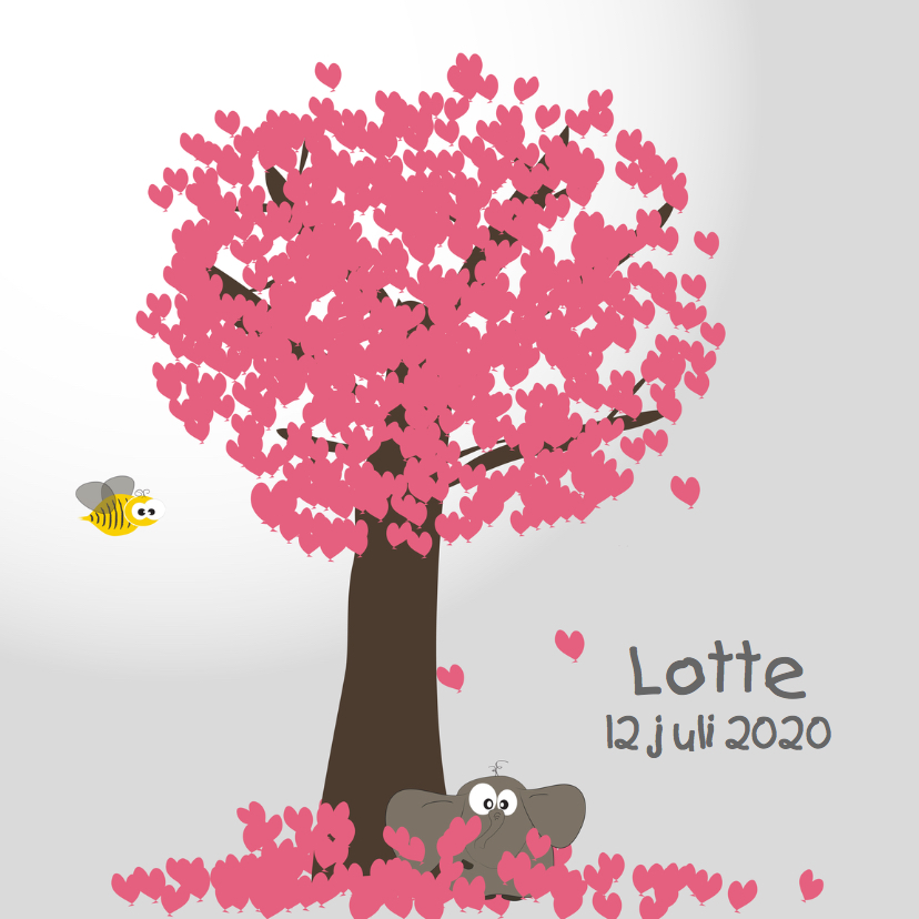 Geboortekaartjes - Mo Card olifant geboortekaartje hartjes ballonnen
