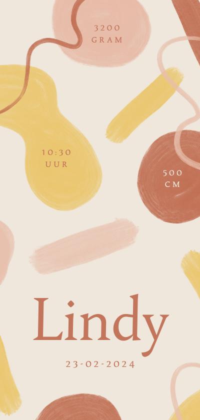 Geboortekaartjes - Modern geboortekaartje geschilderde roze en gele vormen