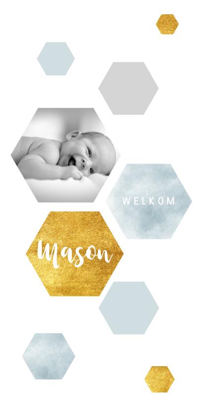 Geboortekaartjes - Modern geboortekaartje met waterverf en goudlook zeshoeken