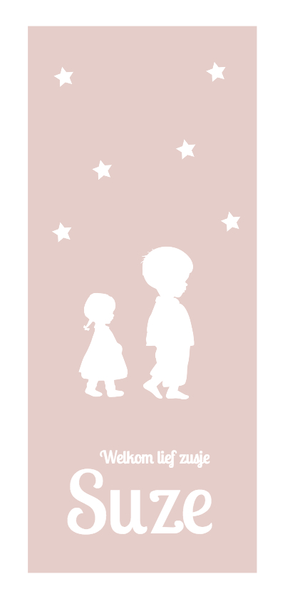 Geboortekaartjes - nostalgisch silhouet geboortekaartje zusje