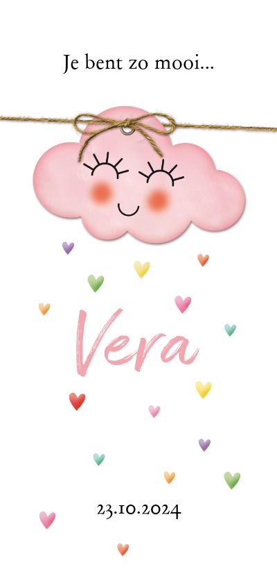 Geboortekaartjes - Op een roze wolk met regen van hartjes geboorte