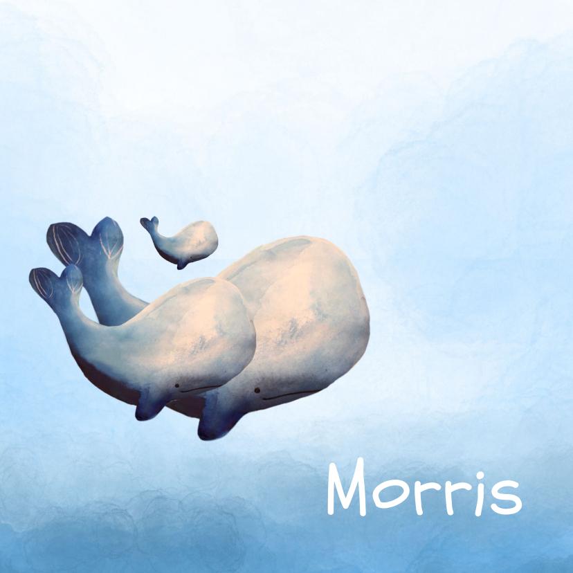 Geboortekaartjes - Prachtig geboortekaartje met waterverf en walvis gezin