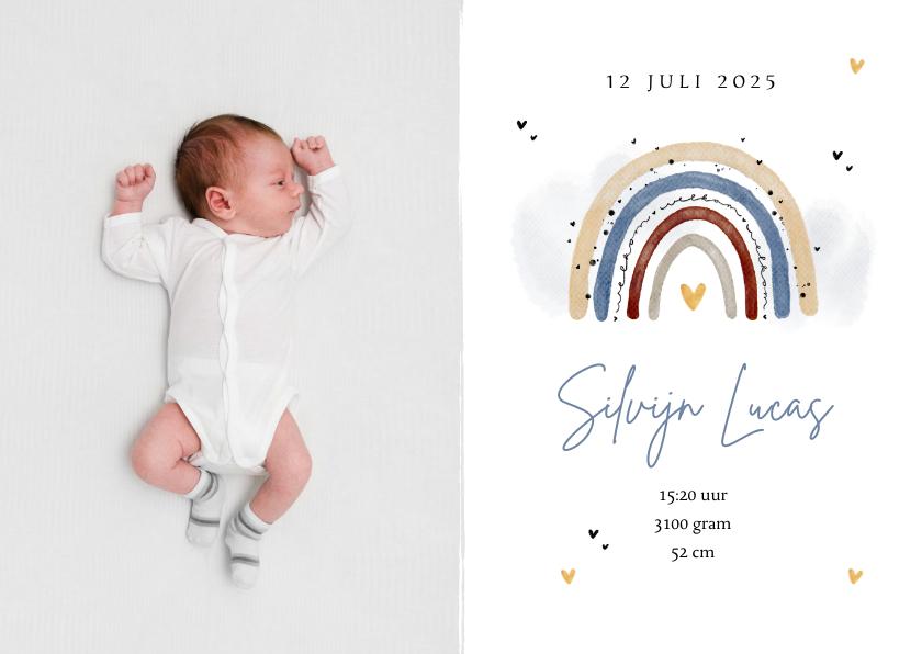 Geboortekaartjes - Regenboog geboortekaartje waterverf lief hartjes foto jongen