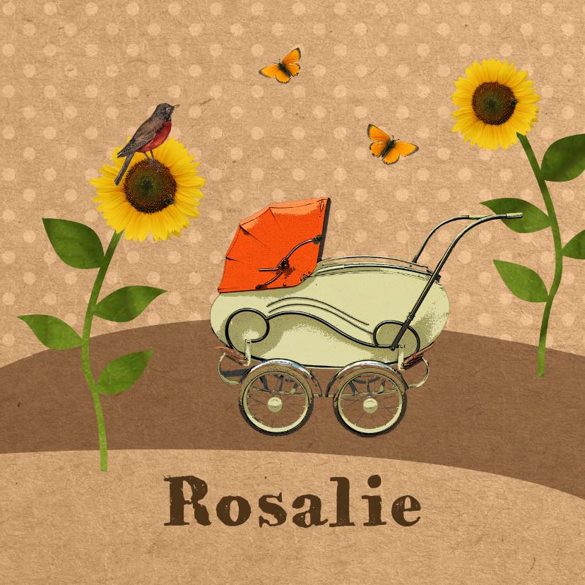 Geboortekaartjes - Retro kinderwagen oranje