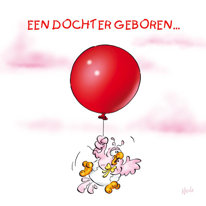 Geboortekaartjes - Rocco Geboorte dochter 4 baby aan ballon