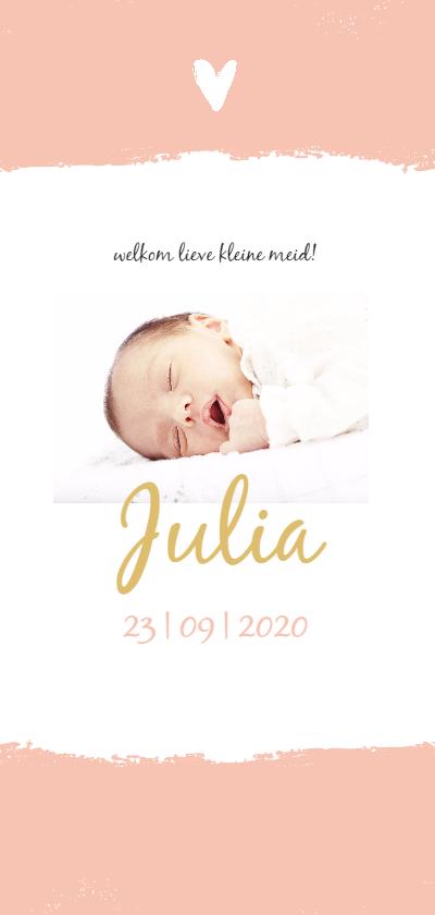 Geboortekaartjes - Roze brush met wit hartje