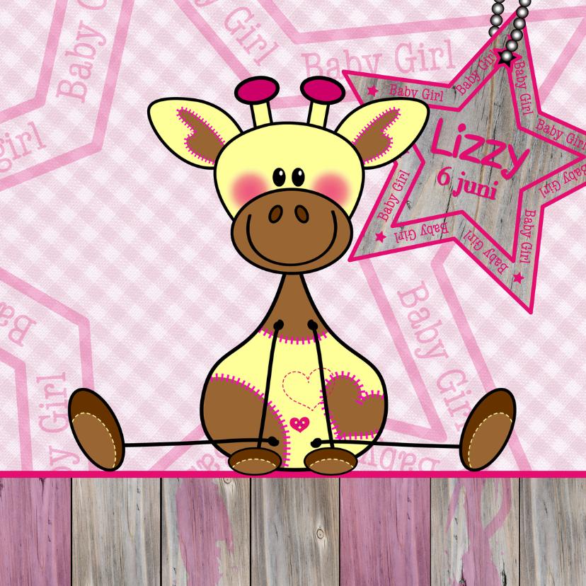 Geboortekaartjes - Roze geboortekaart Giraf meisje