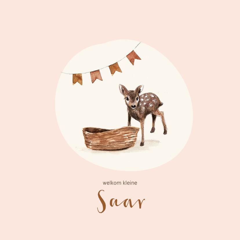 Geboortekaartjes - Roze geboortekaartje met een hertje en wieg