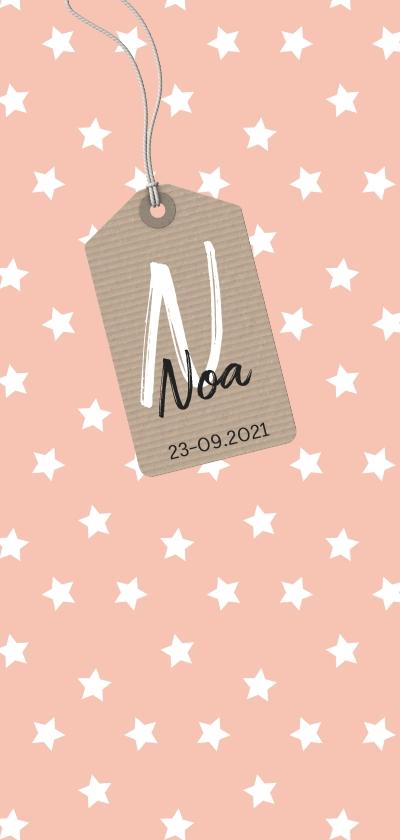Geboortekaartjes - Roze geboortekaartje met witte sterretjes en label