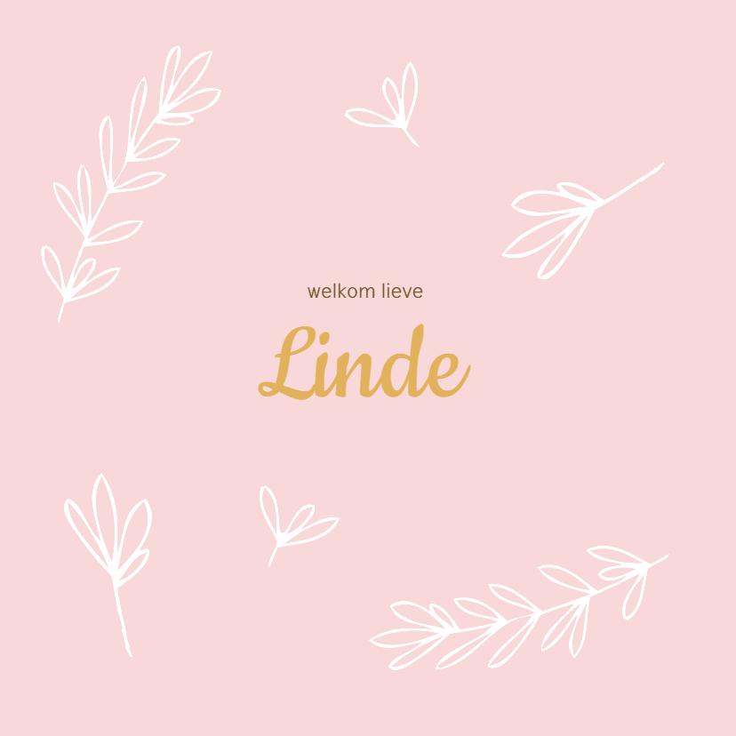 Geboortekaartjes - Roze geboortekaartje met witte takjes
