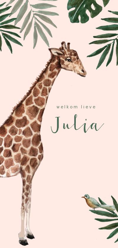 Geboortekaartjes - Roze jungle geboortekaartje met giraf en bladeren